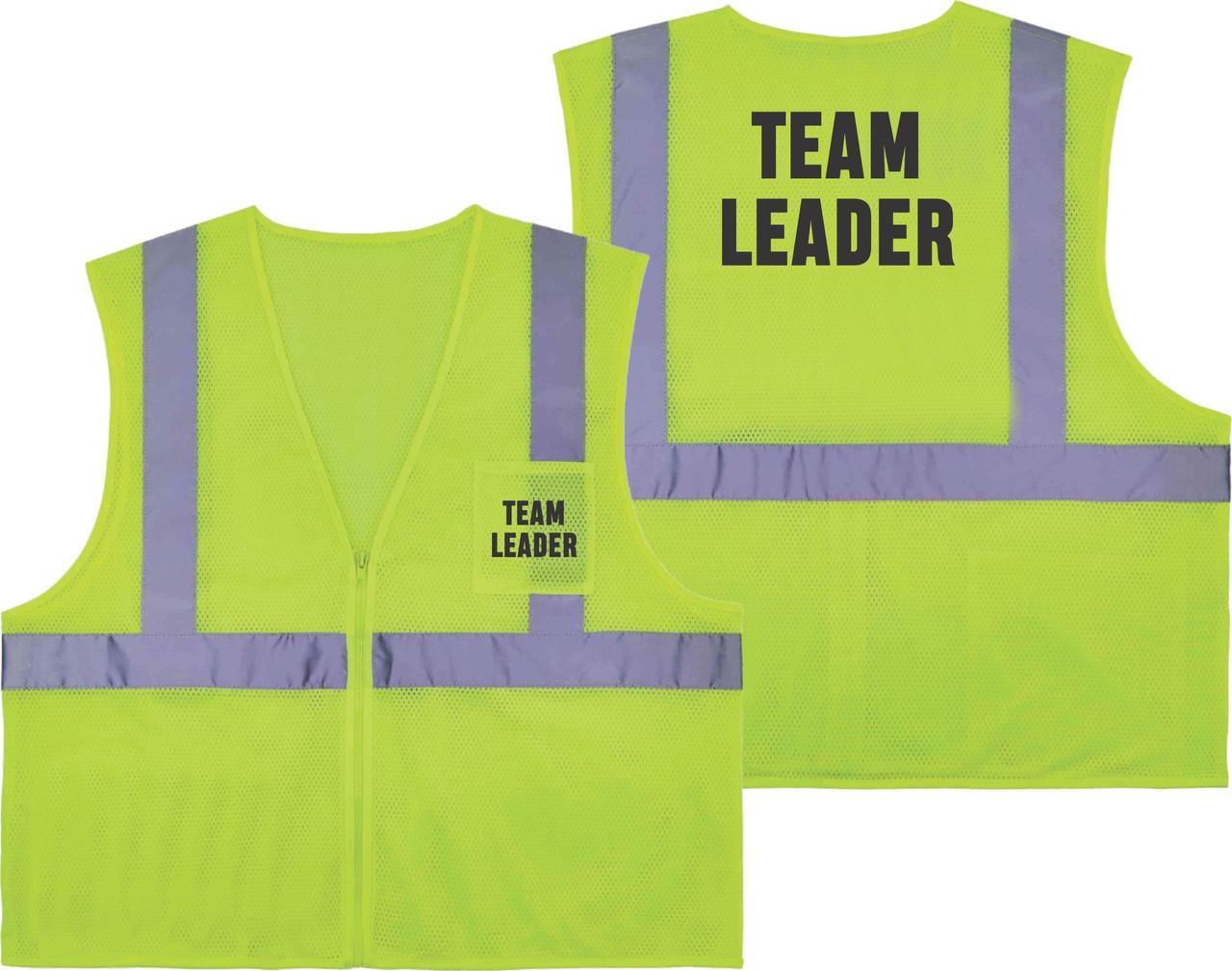 Printed TEAM LEADER Safety Vest Class 2 - Great for Hi Vis Vest for Events