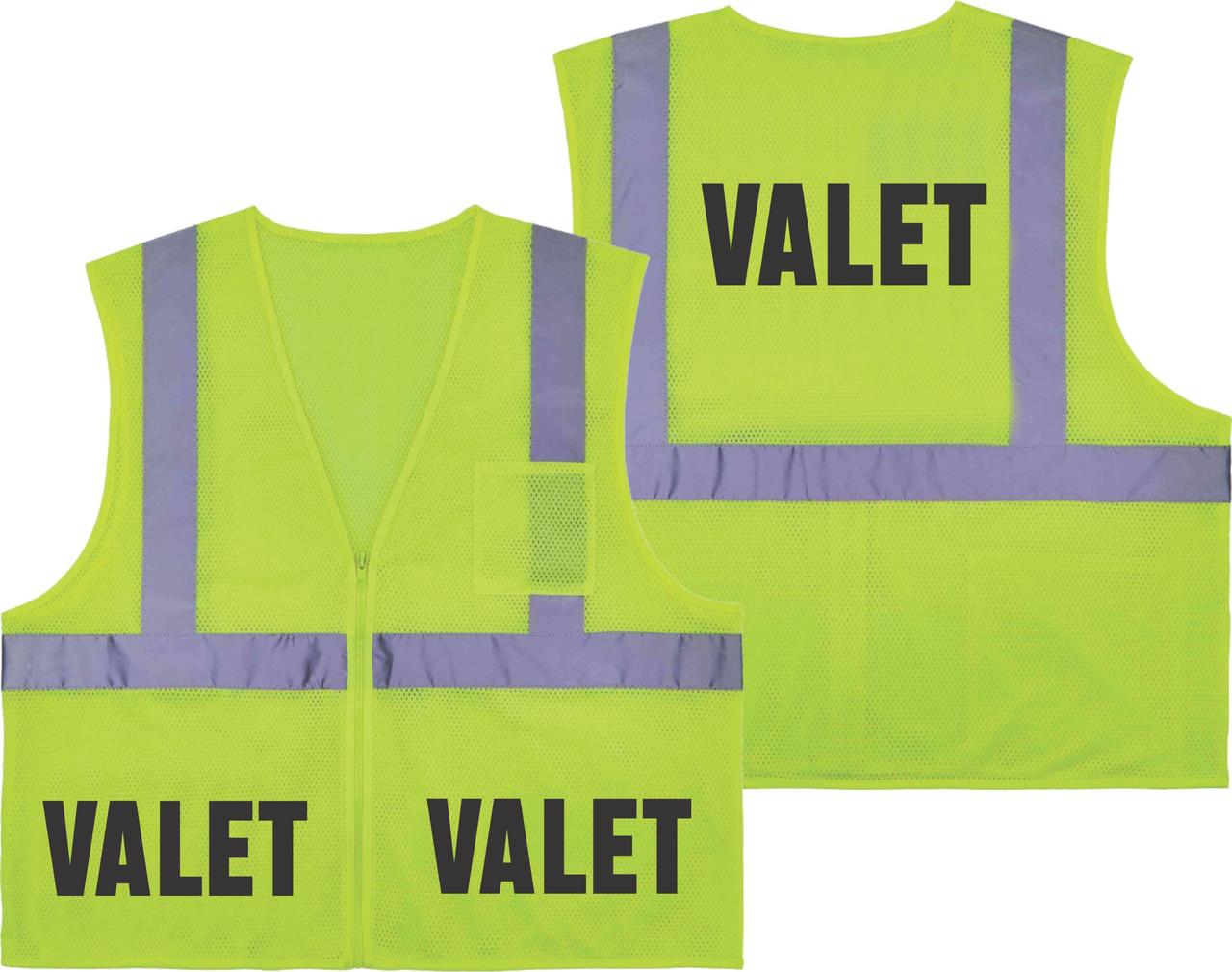 Printed VALET Safety Vest Class 2 - Great for Hi Vis Vest for Events