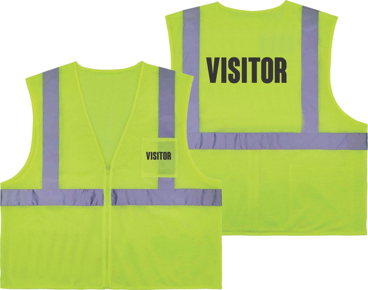 Printed VISITOR Safety Vest Class 2 - Great for Hi Vis Vest for Events