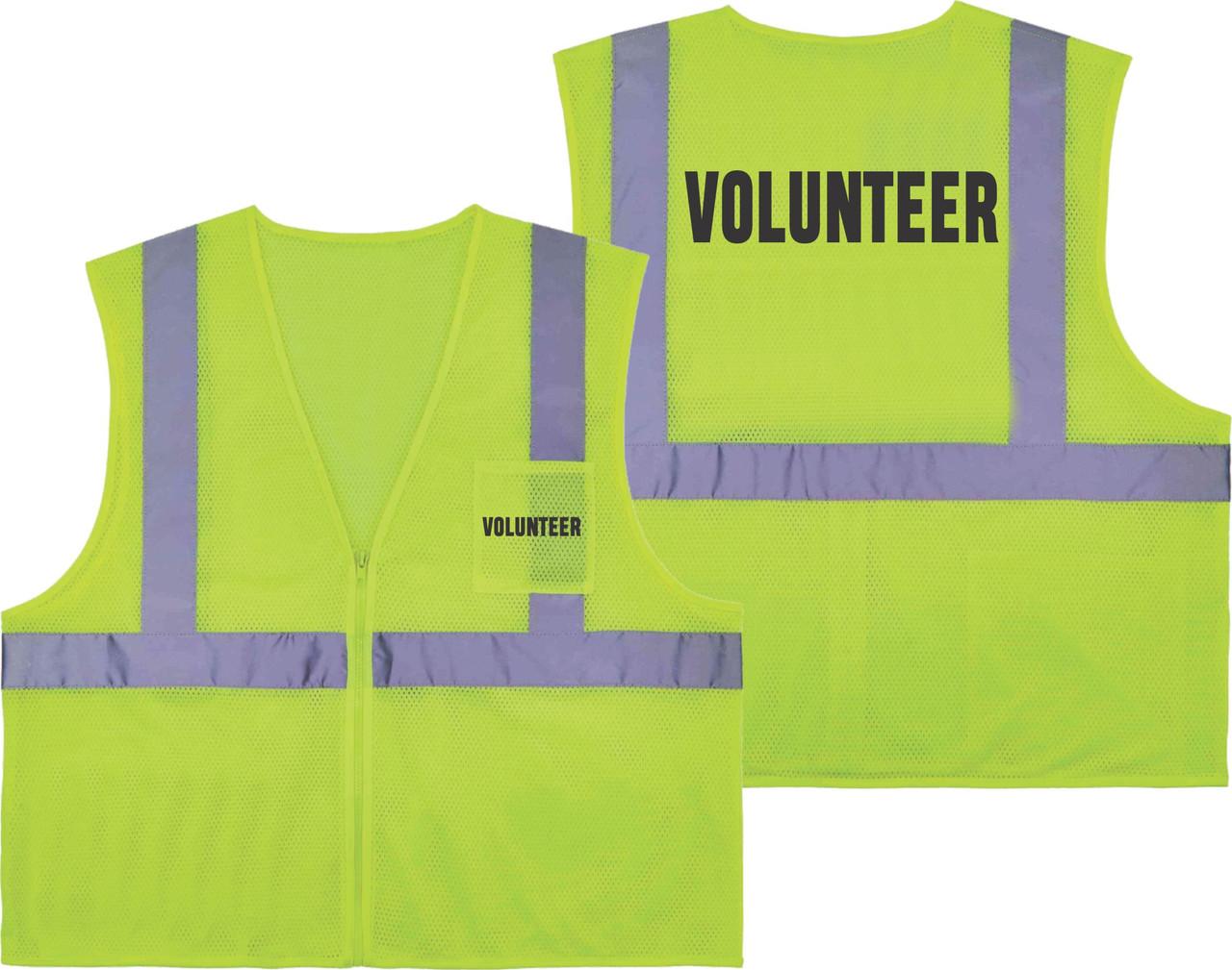 Printed VOLUNTEER Safety Vest Class 2 - Great for Hi Vis Vest for Events