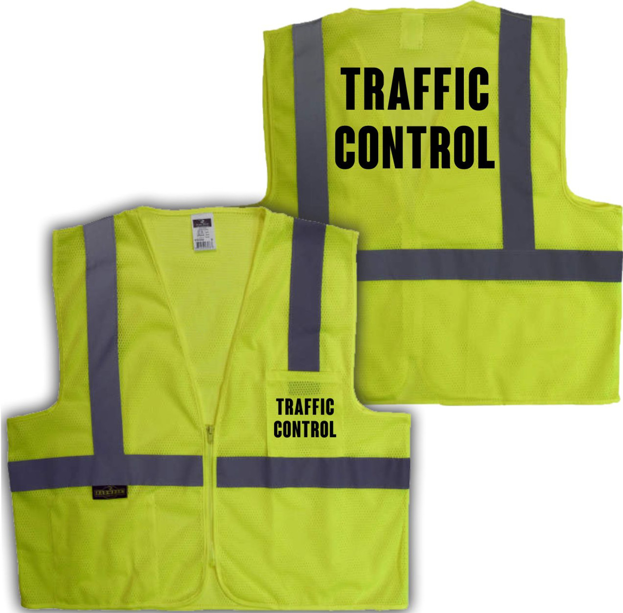 Printed TRAFFIC CONTROL Safety Vest Class 2