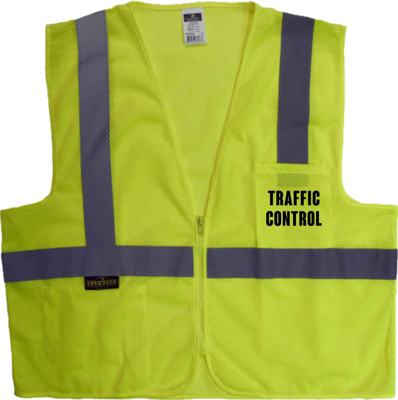 Safety Green Safety Vest Class 2 Printed with TRAFFIC CONTROL  on front and back
