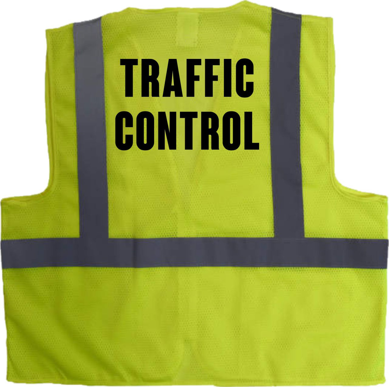 This Hi Vis TRAFFIC CONTROL Vest is an added measure to help your TRAFFIC CONTROL to stand out and be seen.  This class 2 Safety Vest has TRAFFIC CONTROL printed boldly on the front and the back.