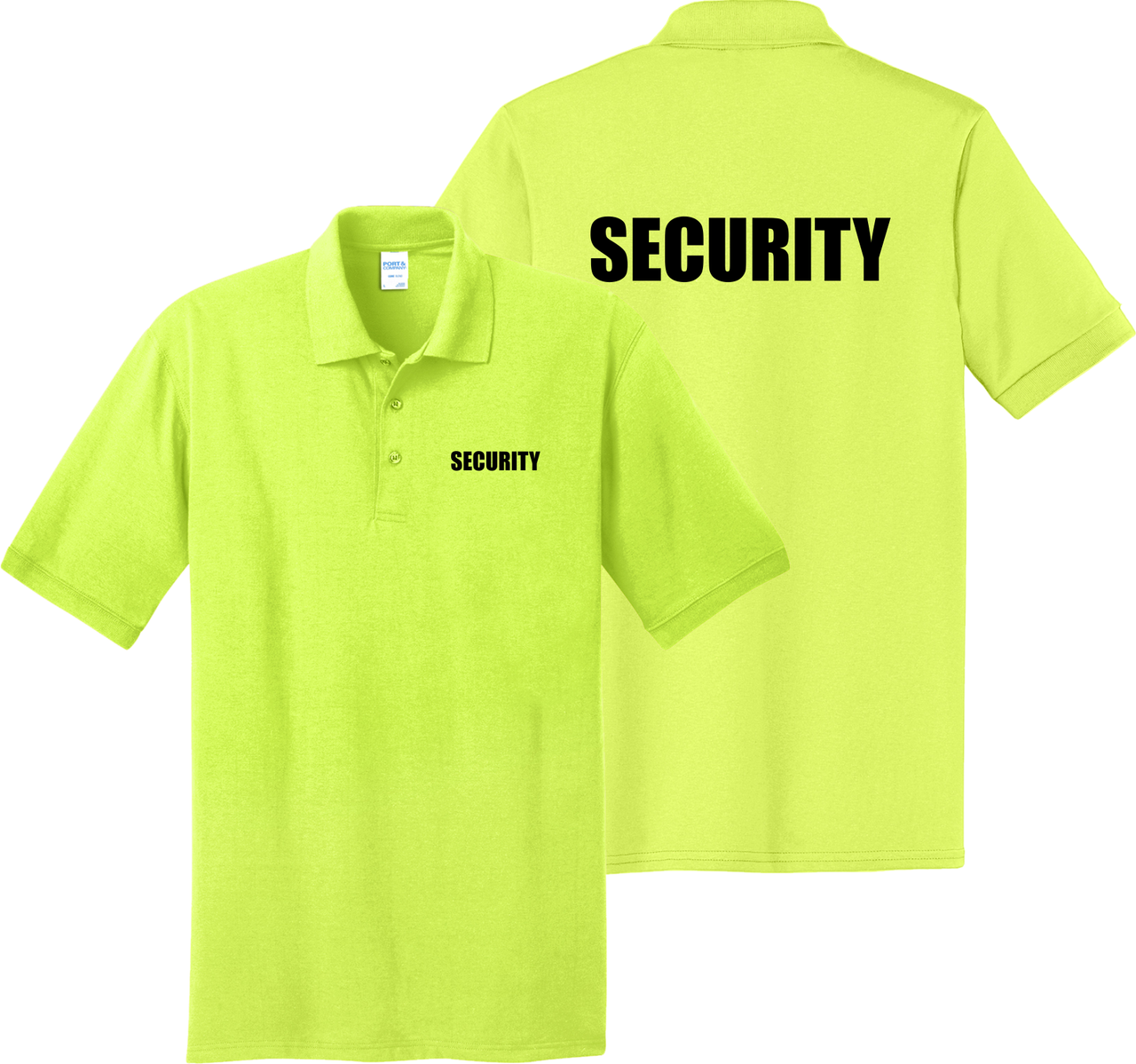 Safety Green Security Polo.  Make your Security Officer stand out among the crowd in the bright Safety Green Polo Shirt.