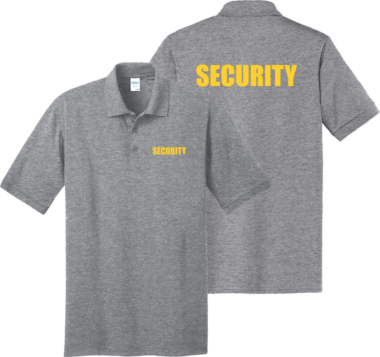 Event Staff Shirt for Security.  Security Polo Shirt.  Heather Grey Polo Security Shirt.