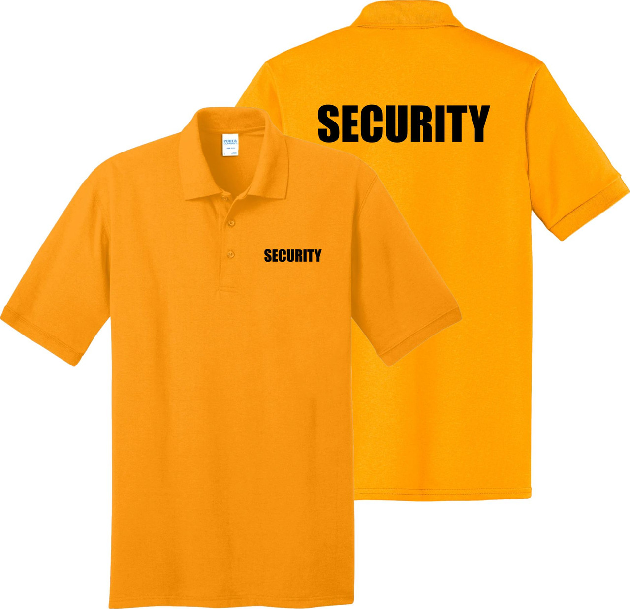 Gold Security Polo Shirt.  Great form security uniforms.