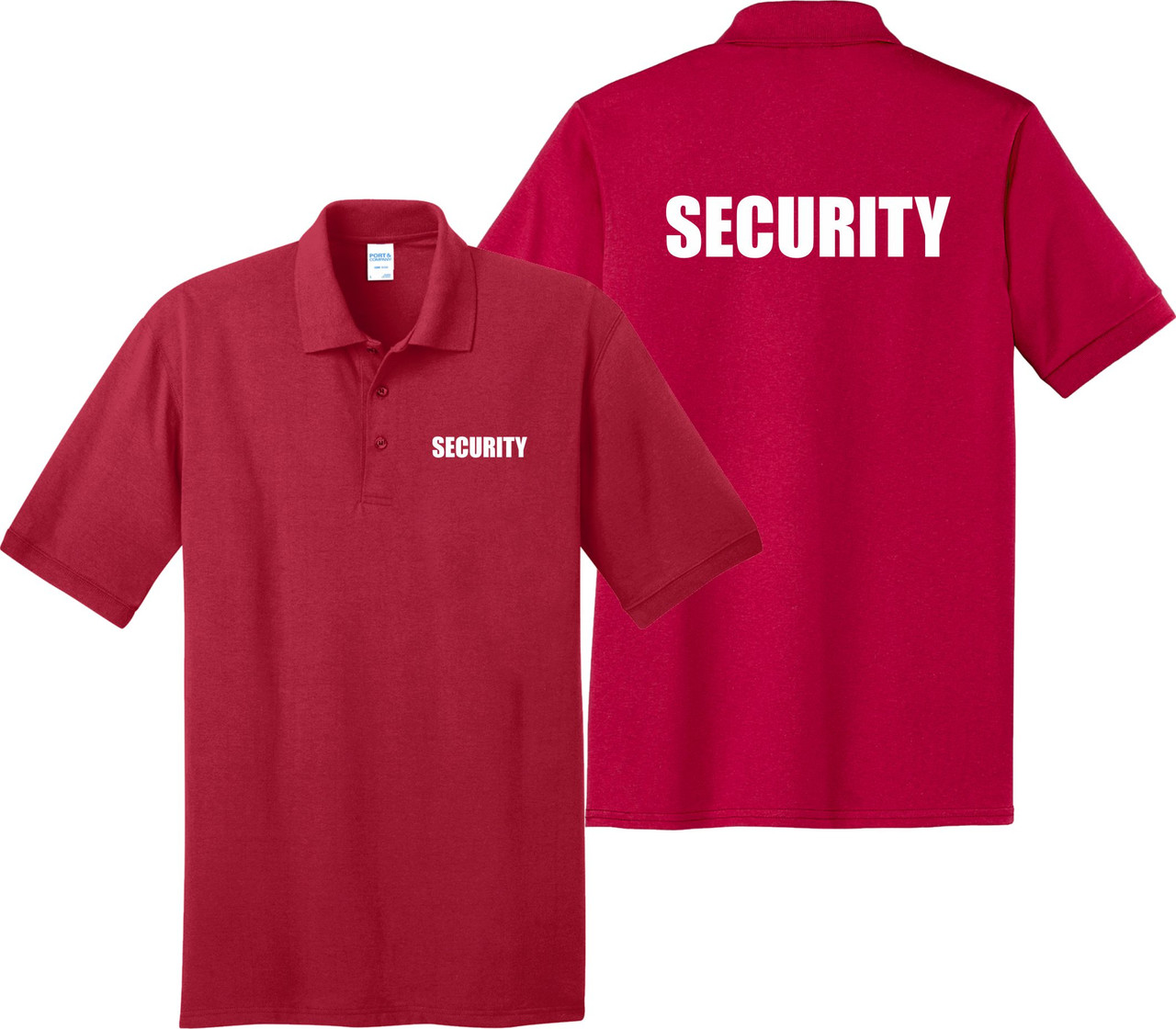Red Security Polo Shirt.  Great for security guard shirts.