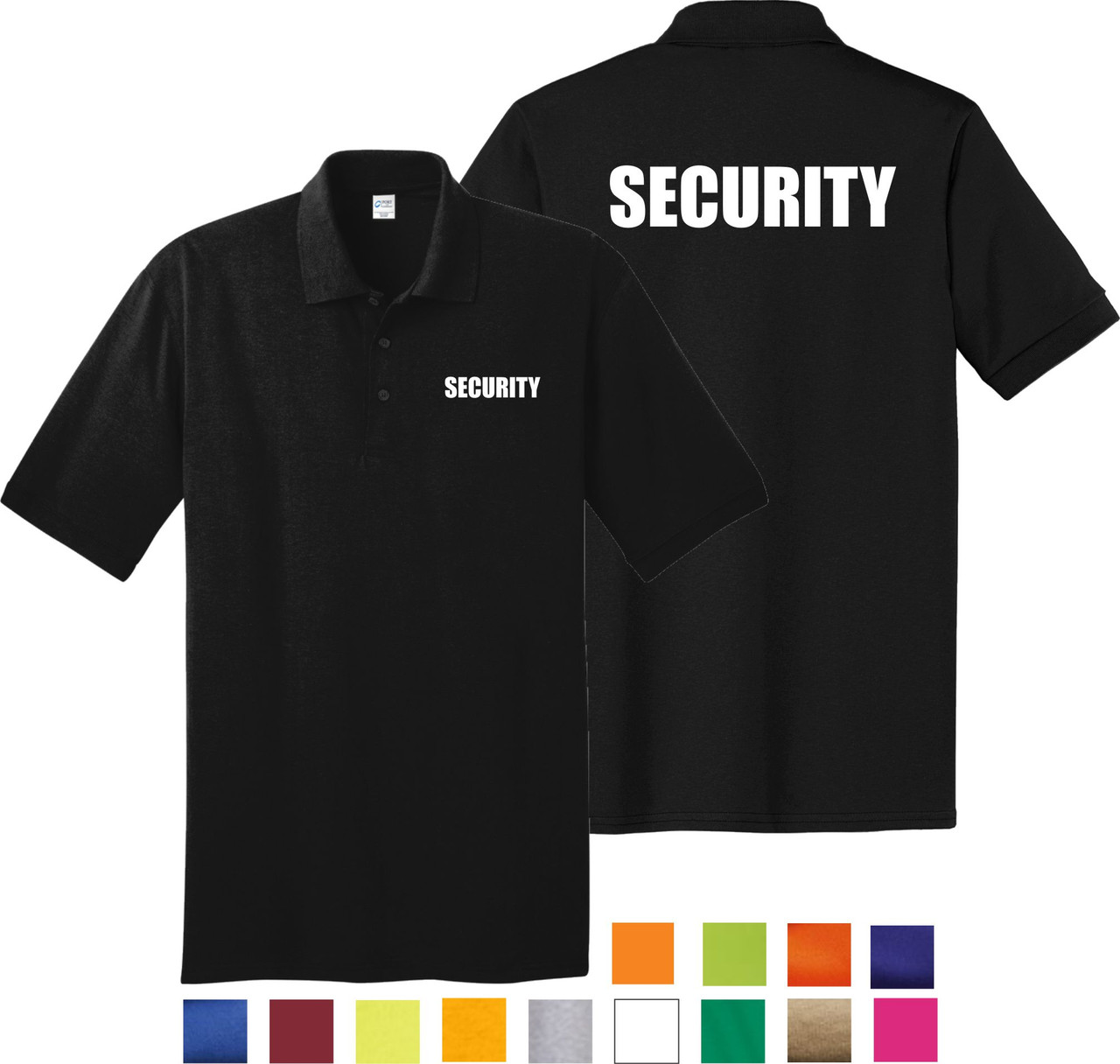 Security Polo.  Make your Security Officer stand out among the crowd in the Polo Shirt.   Security  Polo Shirts available in a variety of colors and  sizes  small - 6X.