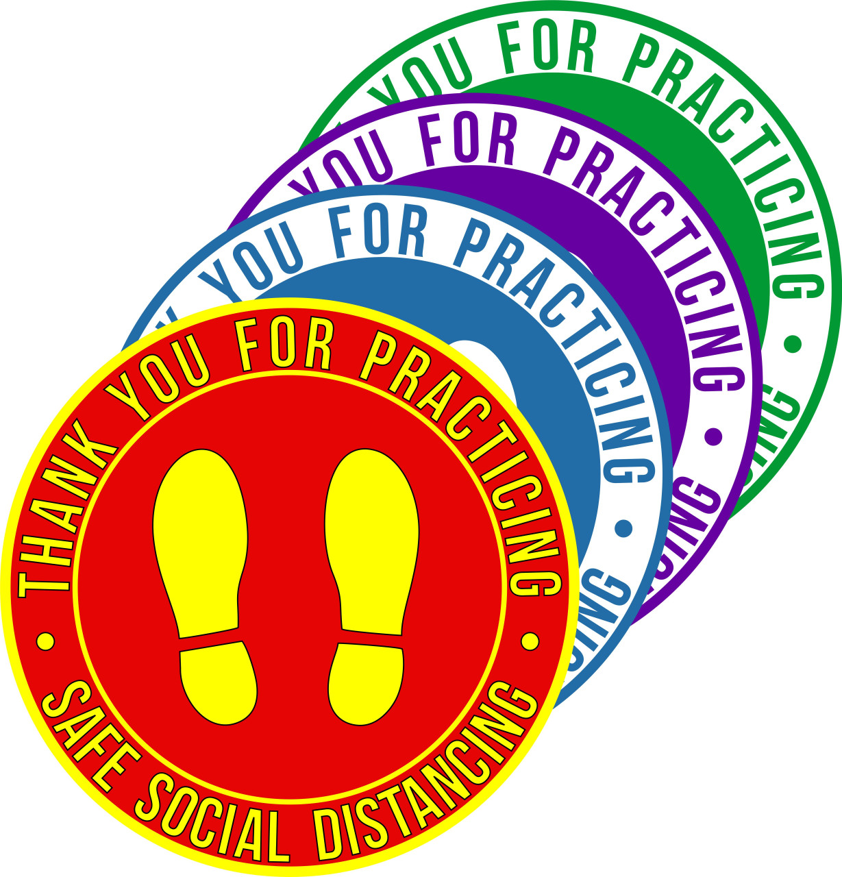 Thank You for Practicing Safe Social Distancing Floor Decal | Covid-19 Floor Sticker | Coronavirus Floor Decal | Social Distancing Floor Sign | Pandemic Floor Sticker | Social Distance Safety Distance Marker