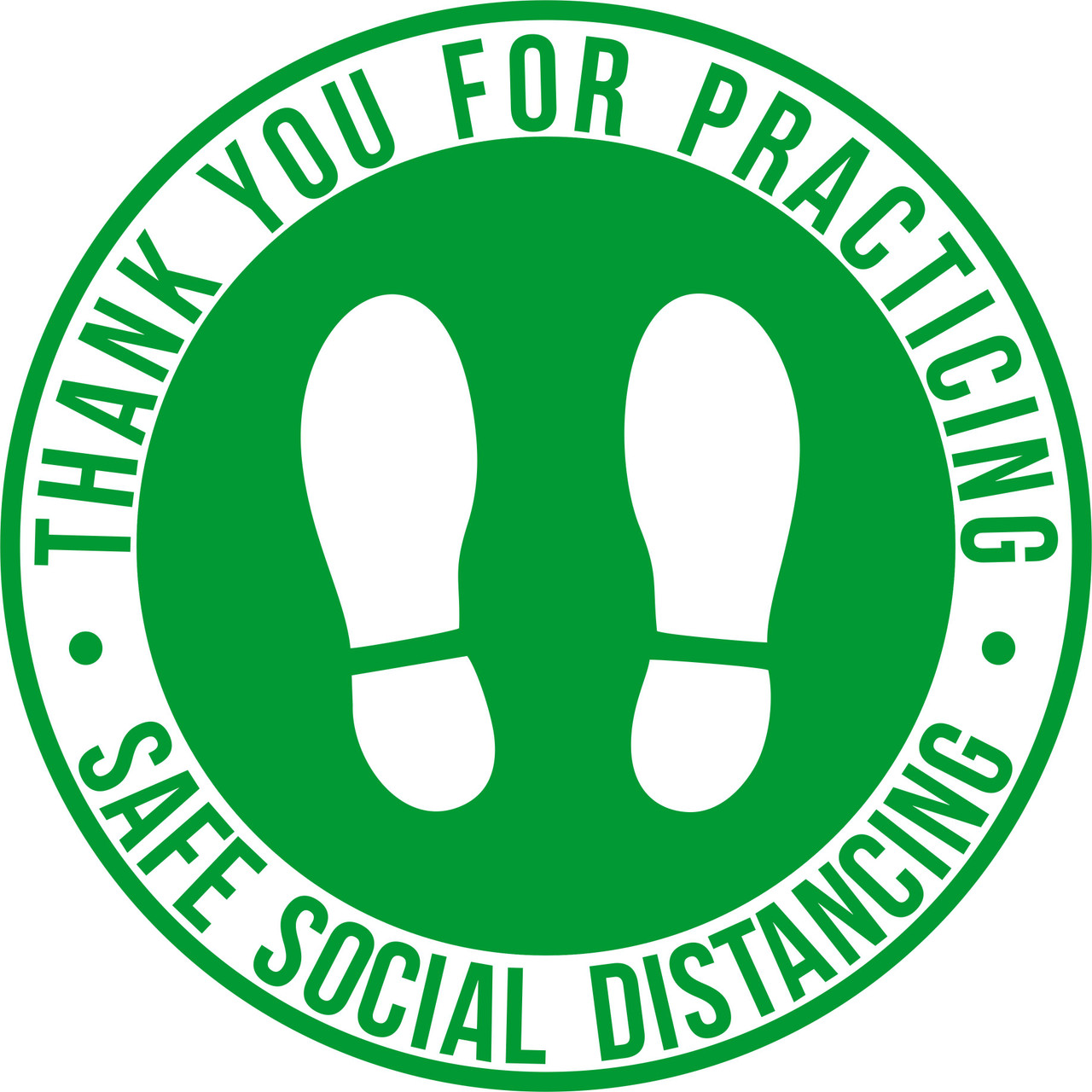 "Green Social Distance Marker Floor Decal | 12"" Round Social Distancing Floor Sticker 