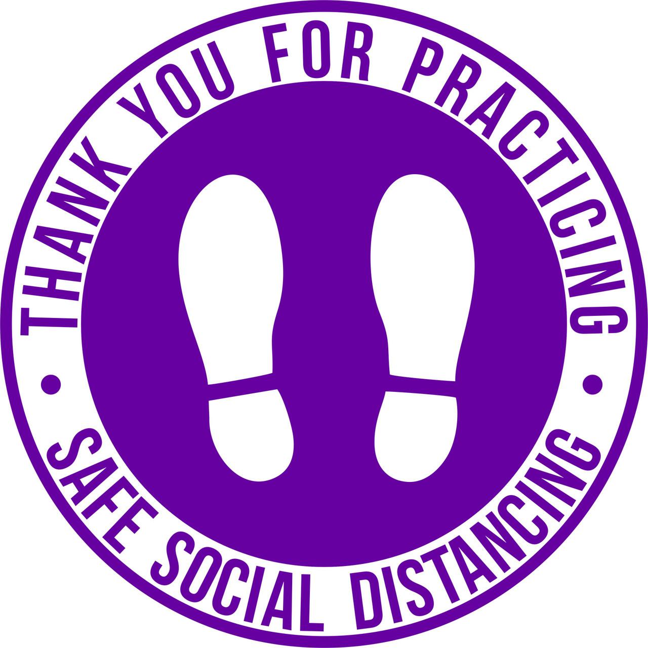 "Purple Social Distance Marker Floor Decal   12"" Round Social Distancing Floor Sticker   COVID-19 Floor Decal   Social Distancing Floor Graphics   Pandemic Floor Signs   Safe Social Distancing floor Signage"