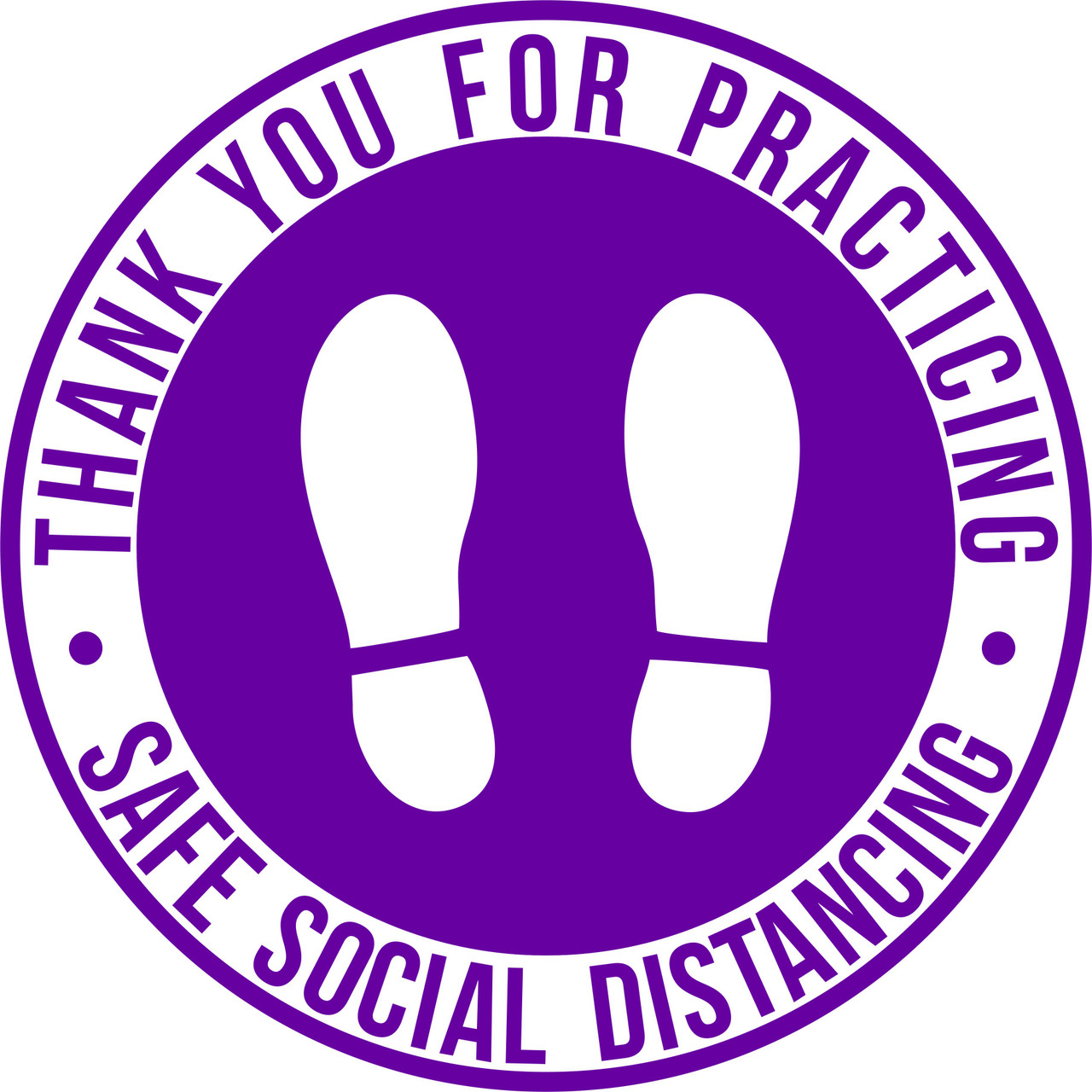 "Purple Social Distance Marker Floor Decal | 12"" Round Social Distancing Floor Sticker 