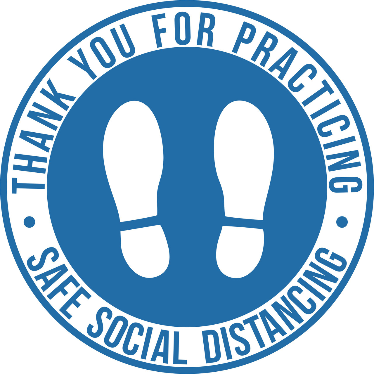 Safe Social Distancing Non-Slip Floor Decal | Round Safe Social Distancing Floor Sticker