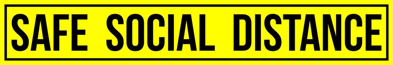 "Yellow 3""x18"" Safe Distance Social Distancing Floor Sticker  | Please Wait Here floor sticker | Coronavirus Pandemic Sticker | Floor Signage 6 Foot Marker | Distance Markers Coronavirus"