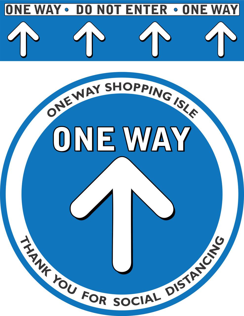 One way Social Distancing Floor Decal | Covid-19 Floor Sticker | Coronavirus Floor Decal | Social Distancing Floor Sign | Pandemic Floor Sticker | Do Not Enter Floor Sticker