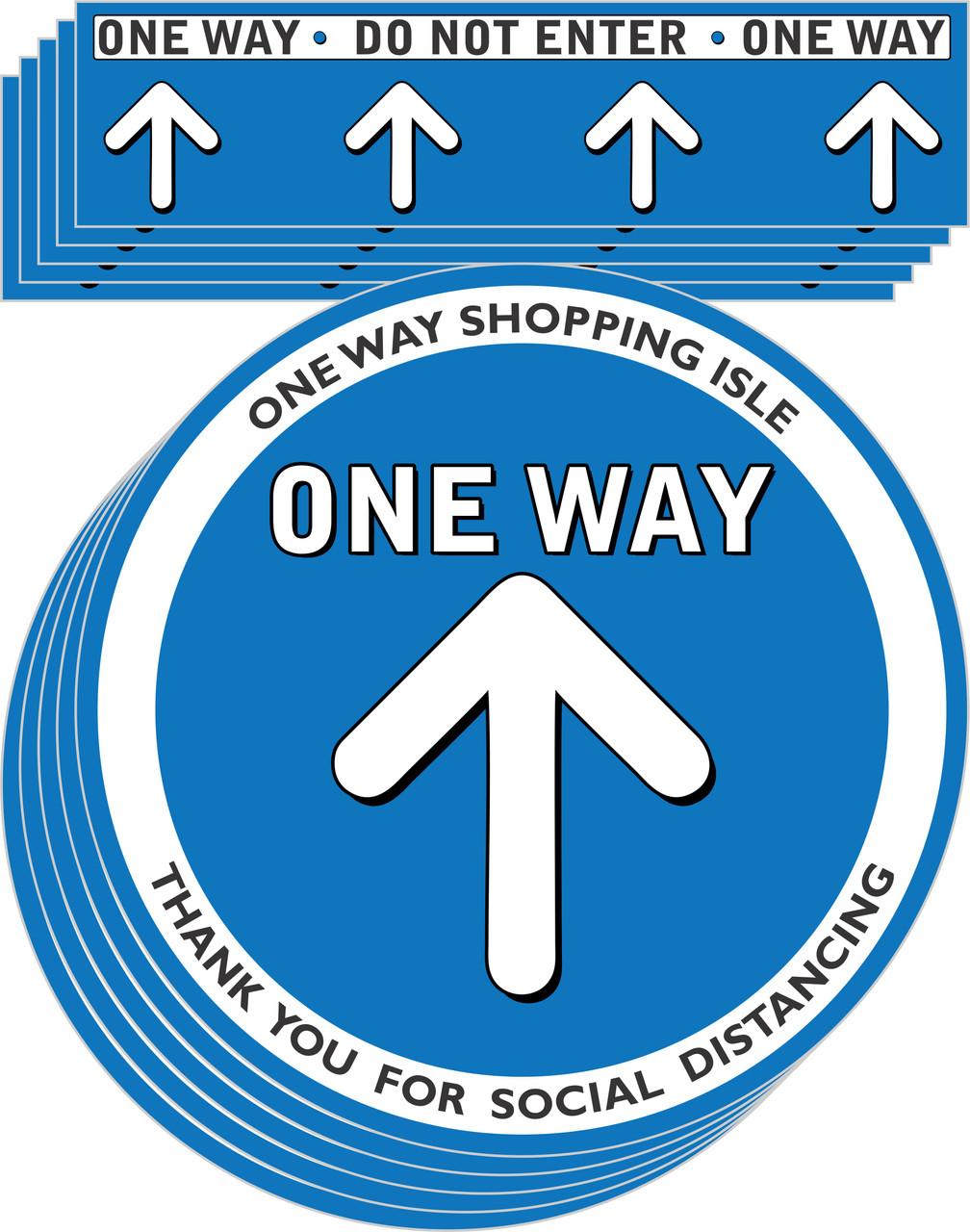 One way Aisle Social Distancing Floor Decal | Covid-19 Floor Sticker | Coronavirus Floor Decal | Social Distancing Floor Sign | Pandemic Floor Sticker | Do Not Enter Floor Sticker 5 pack