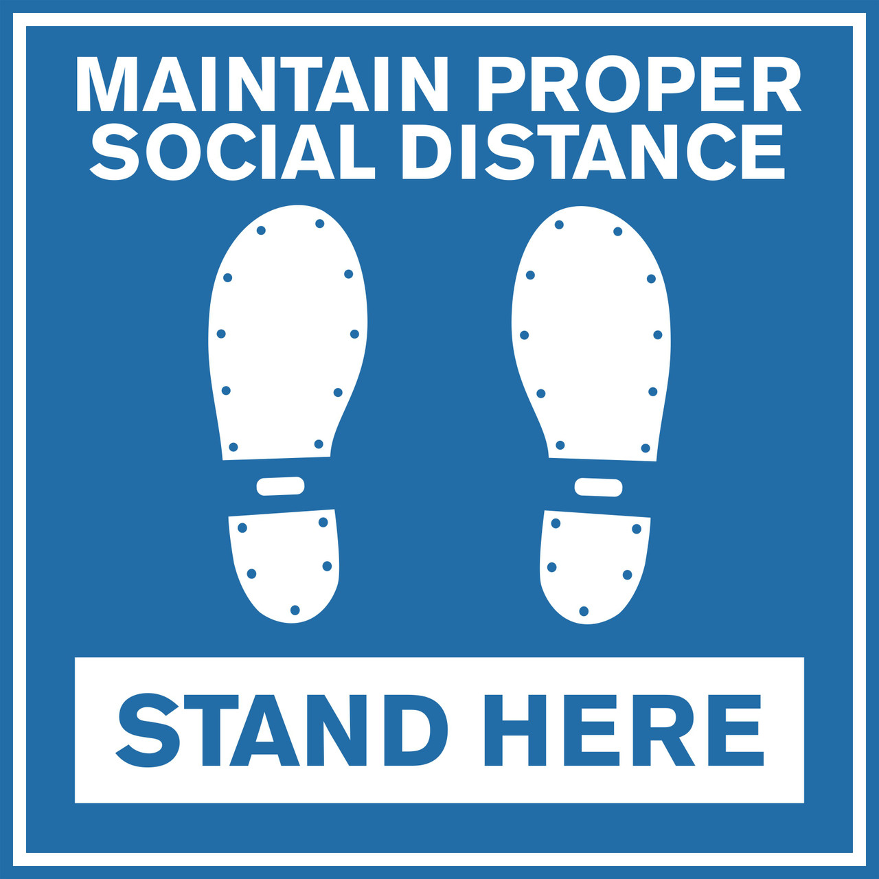 "Social Distancing Non-Slip Floor Decal | Square 24"" Blue Stand Here COVID-19 Coronavirus Floor Sticker"