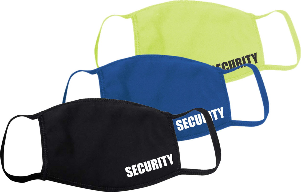 Security Safety Mask, Black Face Covering with Security, Safety Green Face mask with Security, Security Guard Face Mask Royal Blue