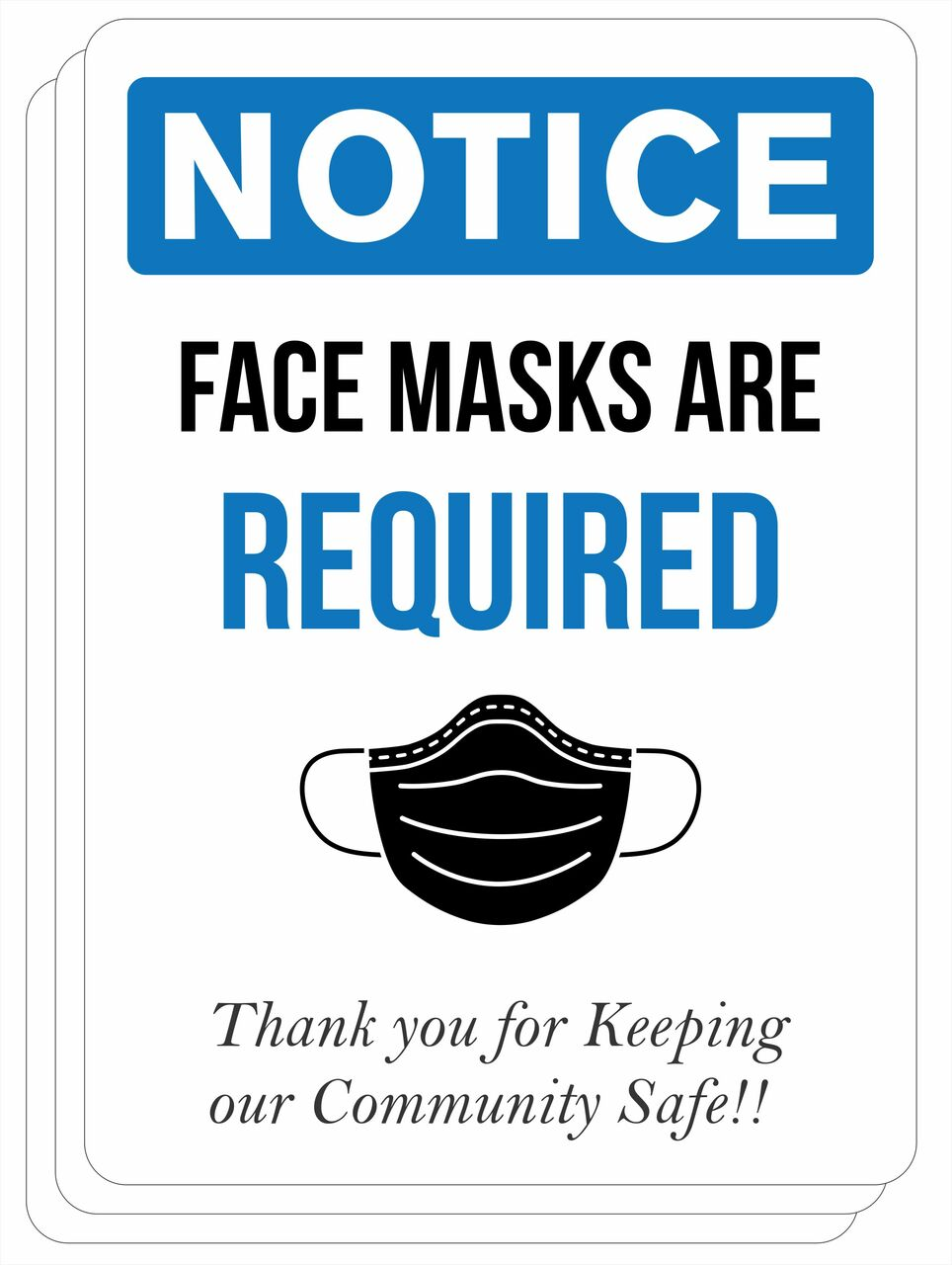 Notice Face Masks Required Sign | Covid-19 Sign Decal