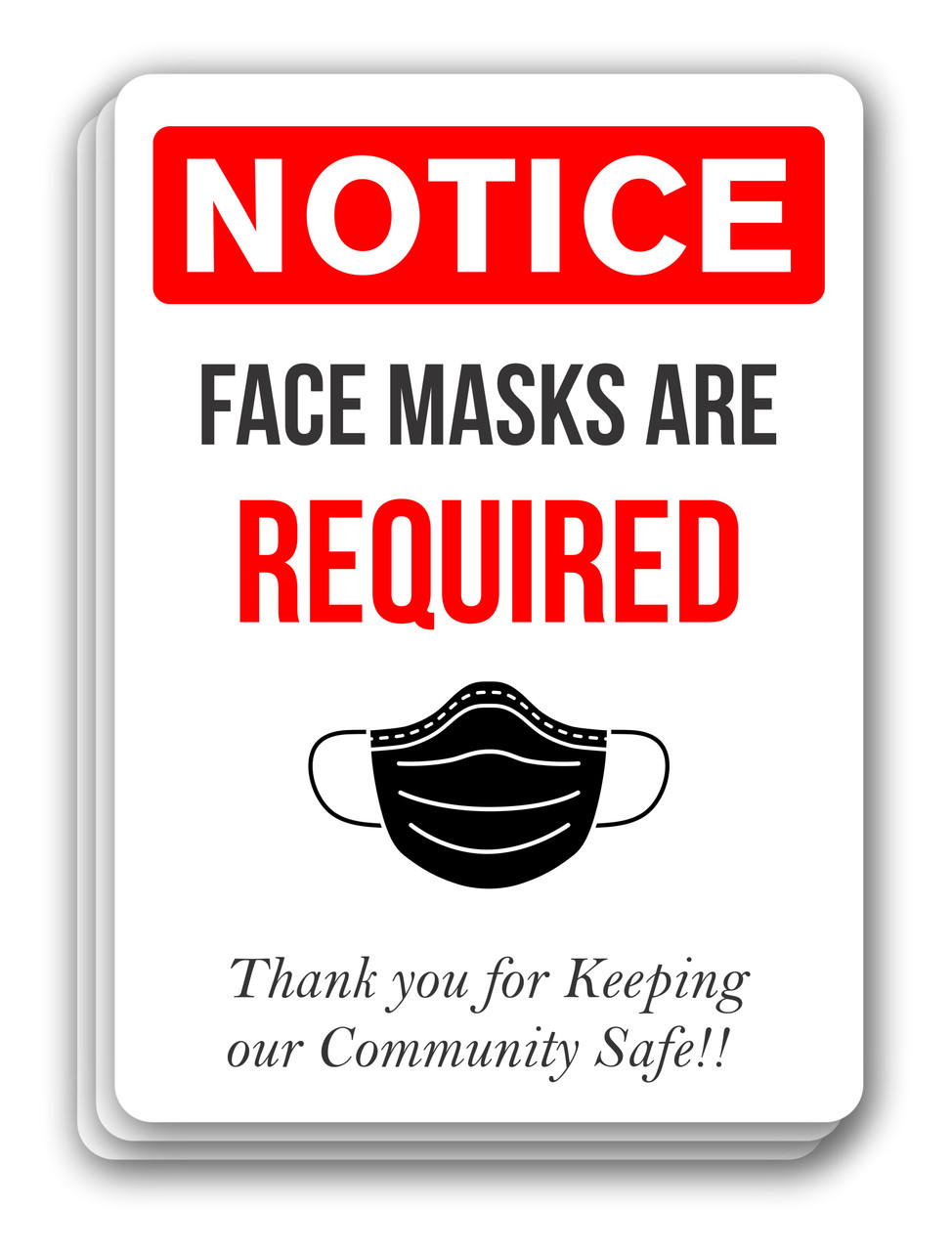 Notice Face Mask Required Sign Red | COVID-19 Face Mask Sign | Pandemic Signage