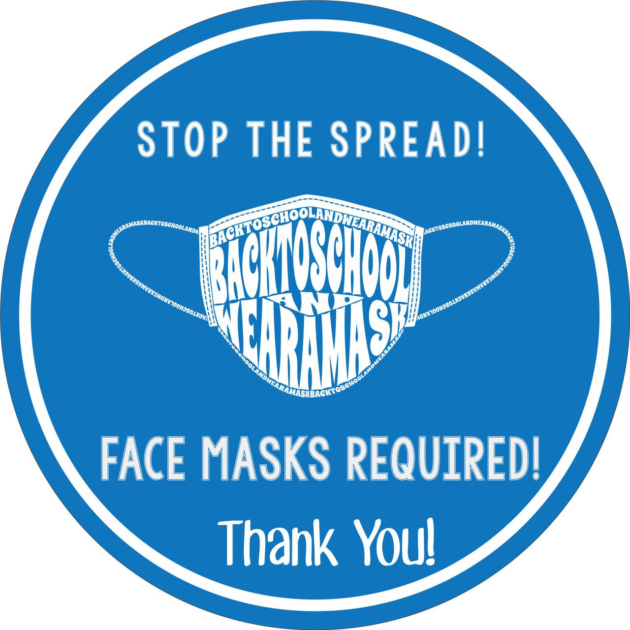 Back To School Face Mask Required Floor Decal   Covid-19 Floor Sticker   Coronavirus Floor Decal   Social Distancing Floor Sign   Pandemic Floor Sticker Decal