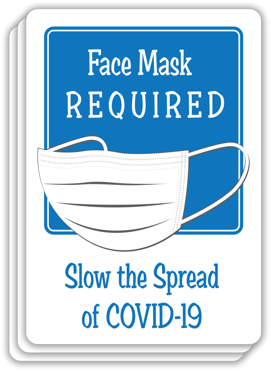 Face Mask Required Slow The Spread Sign Blue | COVID-19 Face Mask Sign | Pandemic Signage