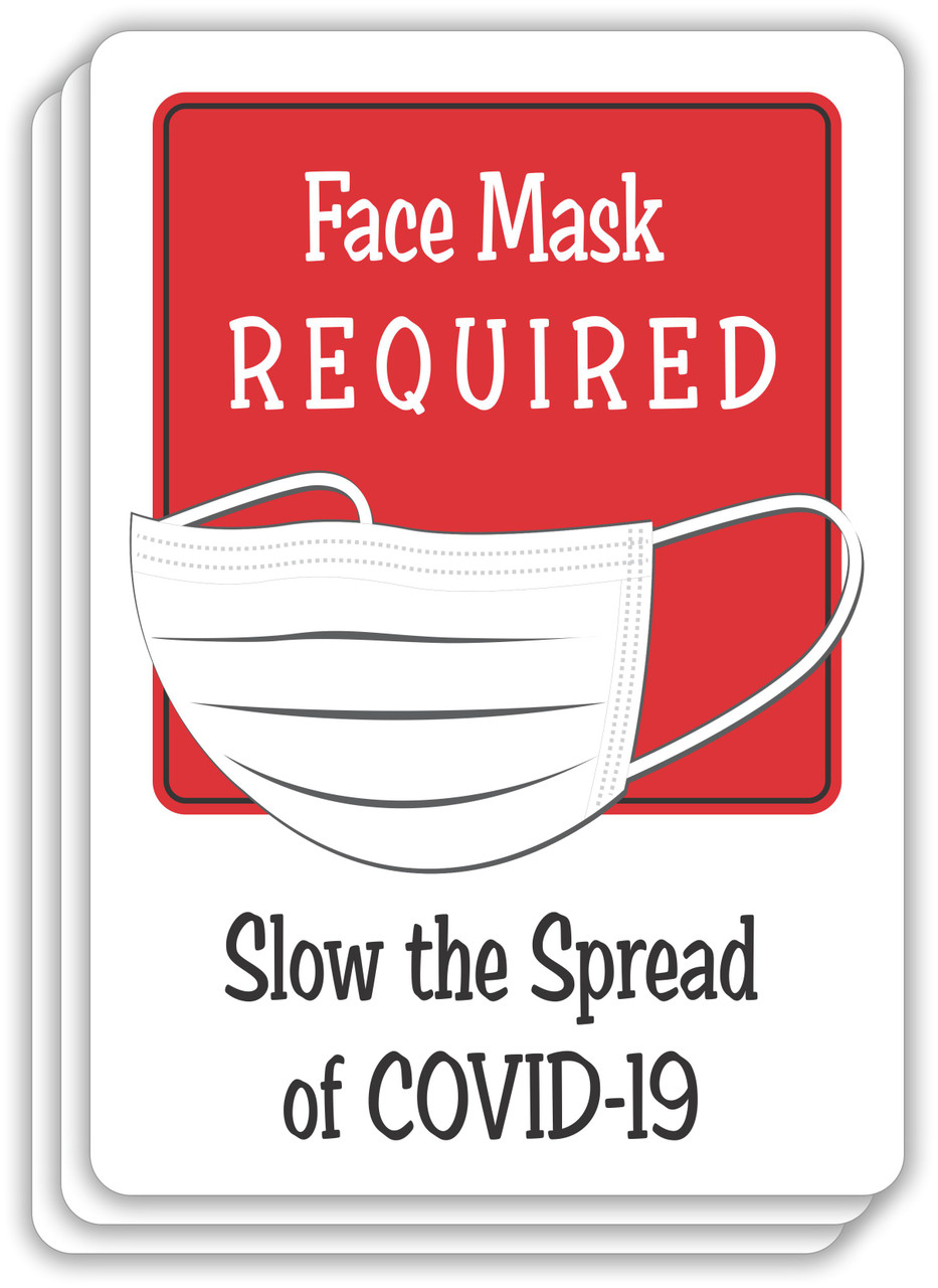 Face Mask Required Slow The Spread Sign Red | COVID-19 Face Mask Sign | Pandemic Signage