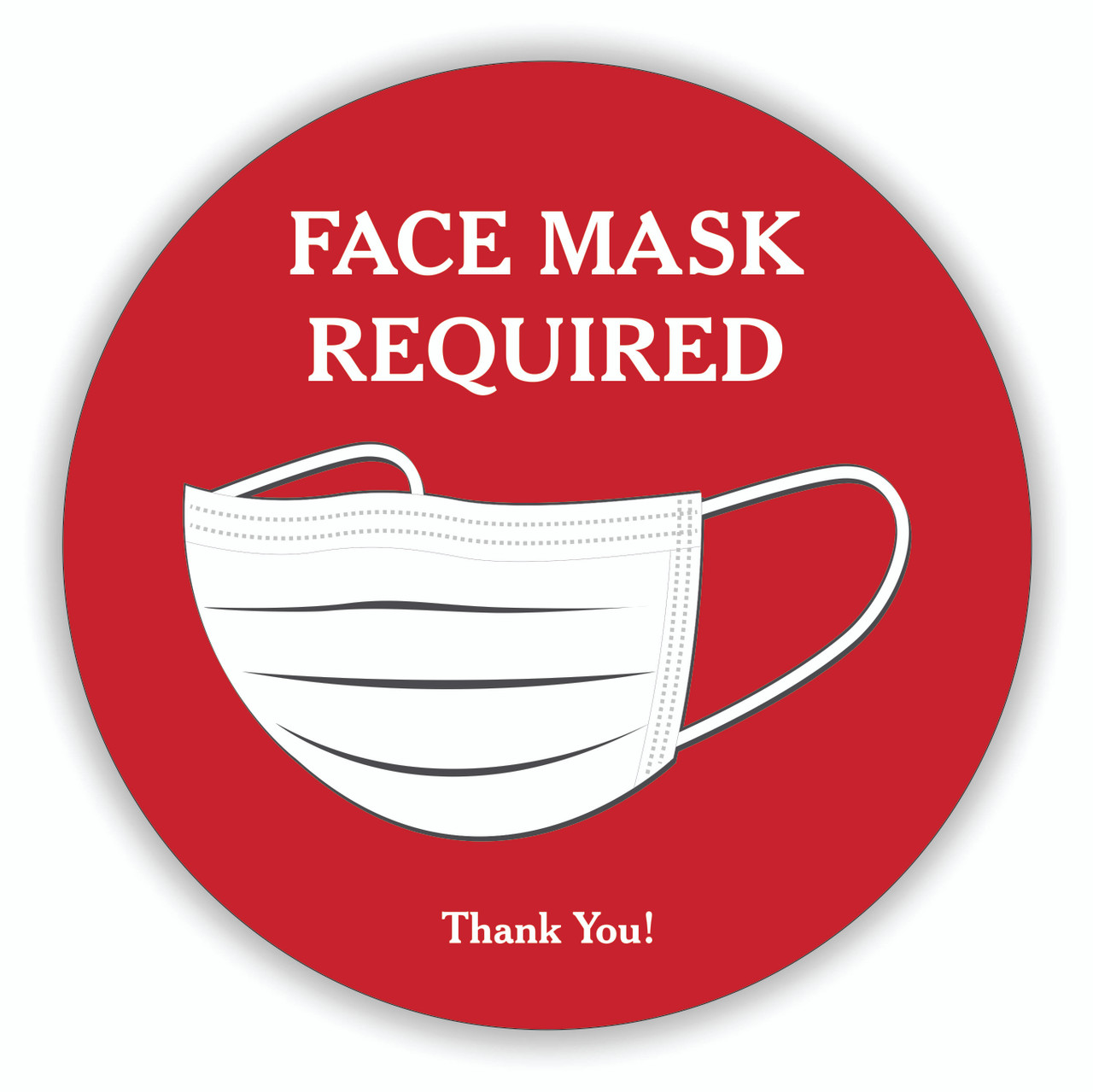 "Face Mask Required 8"" Round Decal Red 