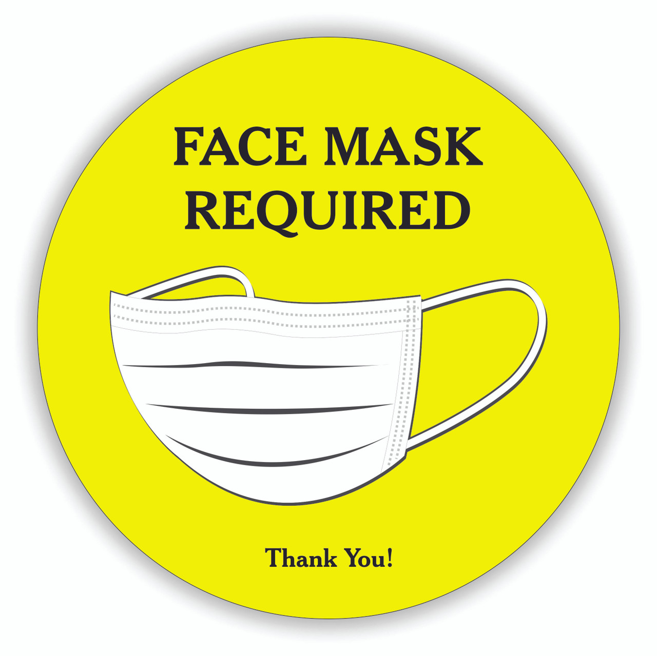 "Face Mask Required 8"" Round Decal - COVID-19 Sign Red"