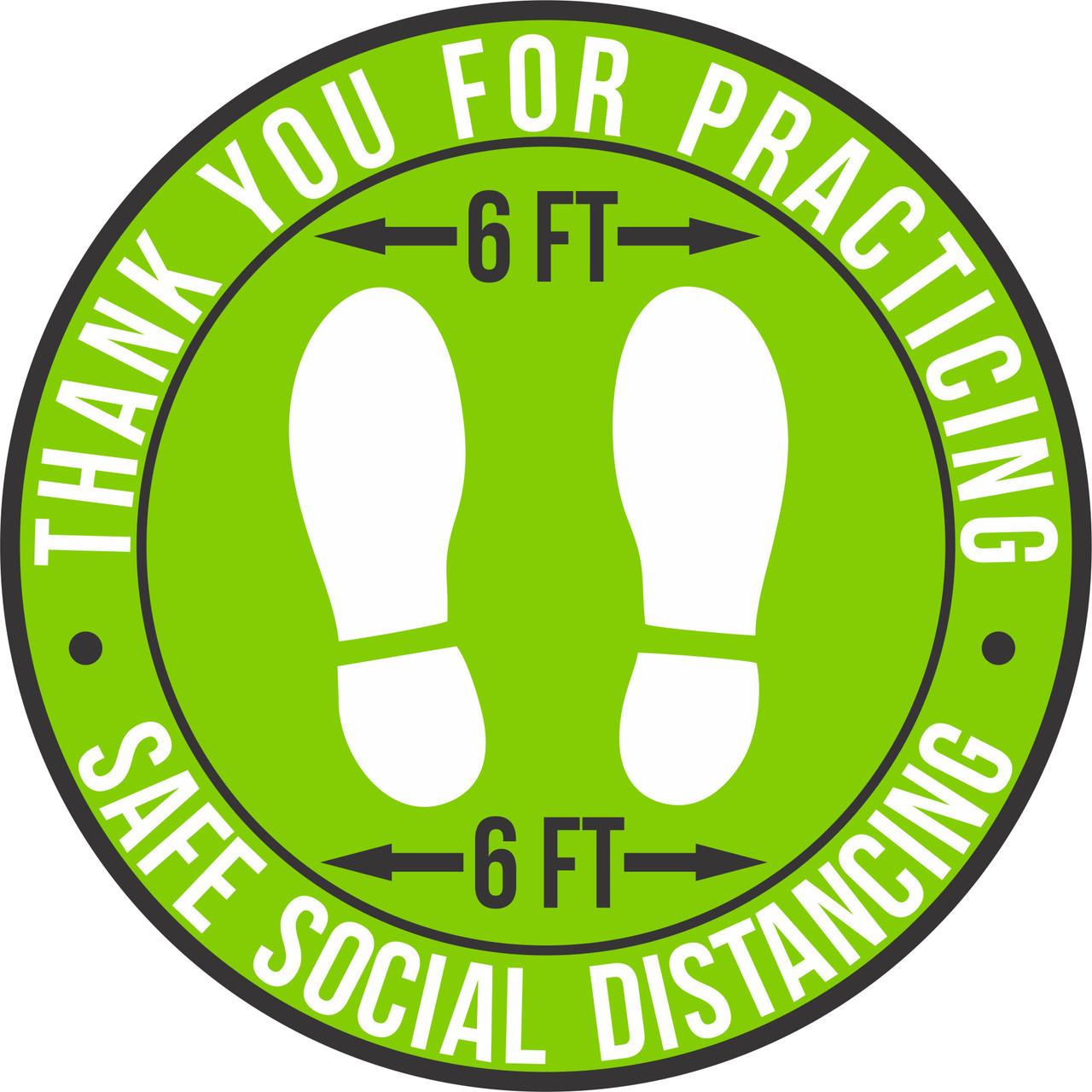 Safe Social Distancing Non-Slip Floor Decal | Round Safe Social Distancing Lime