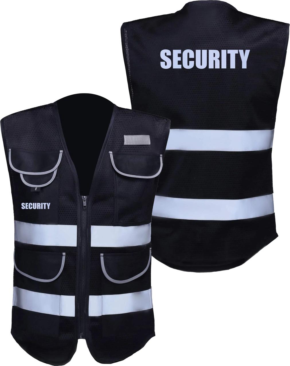 Black Security Vest Non ANSI  | Security Guard Event Staff Reflective Vest  | Safety Vest with Pockets