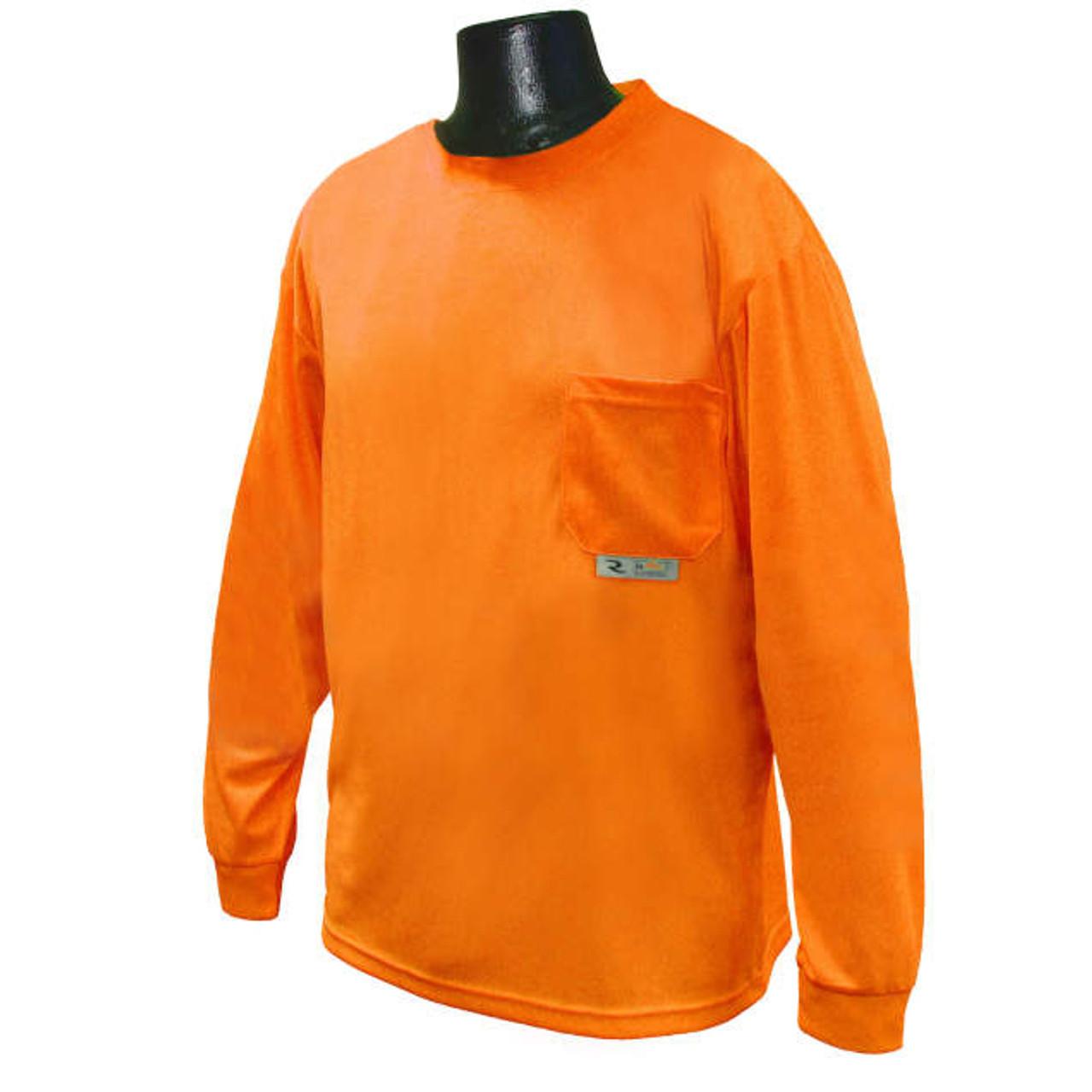 Safety Orange Long Sleeve Moisture Wicking TShirt | Hi Vis Long Sleeve TShirt | Polyester Long Sleeve Safety Orange Shirt | Long Sleeve Pocket TShirt Safety Orange