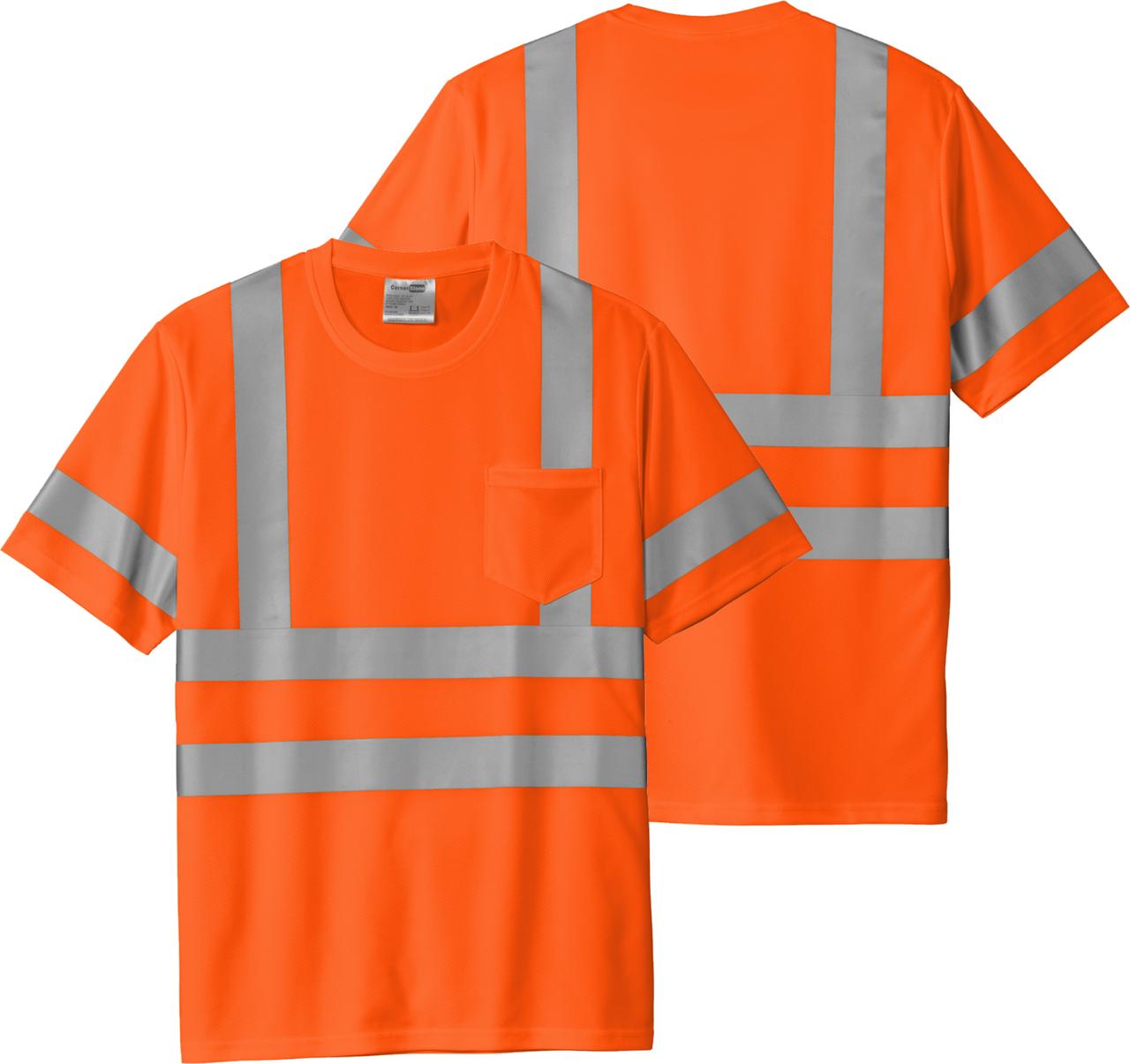 Safety Orange Class 3 Reflective Tshirt 100% Polyester