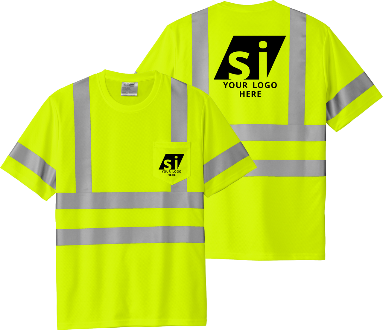 Class 3 Reflective Tshirt 100% Polyester with Logo   Custom Printed Class 3 Tee