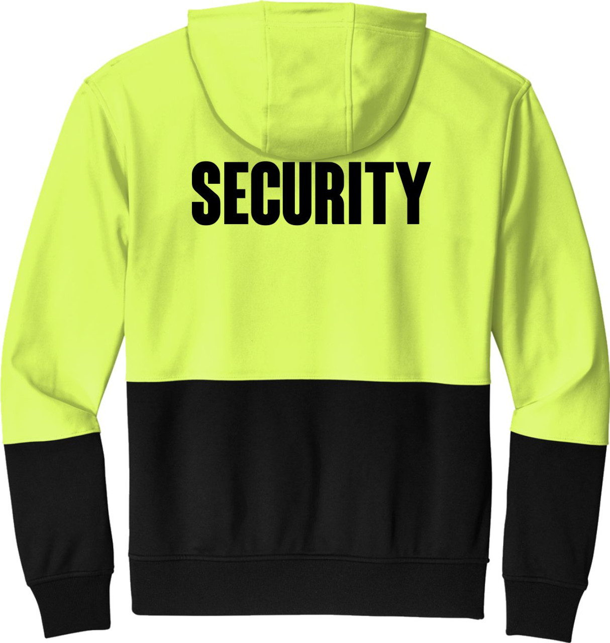 Security Hoodie Safety Yellow and Black   Black Bottom Security Hoodie