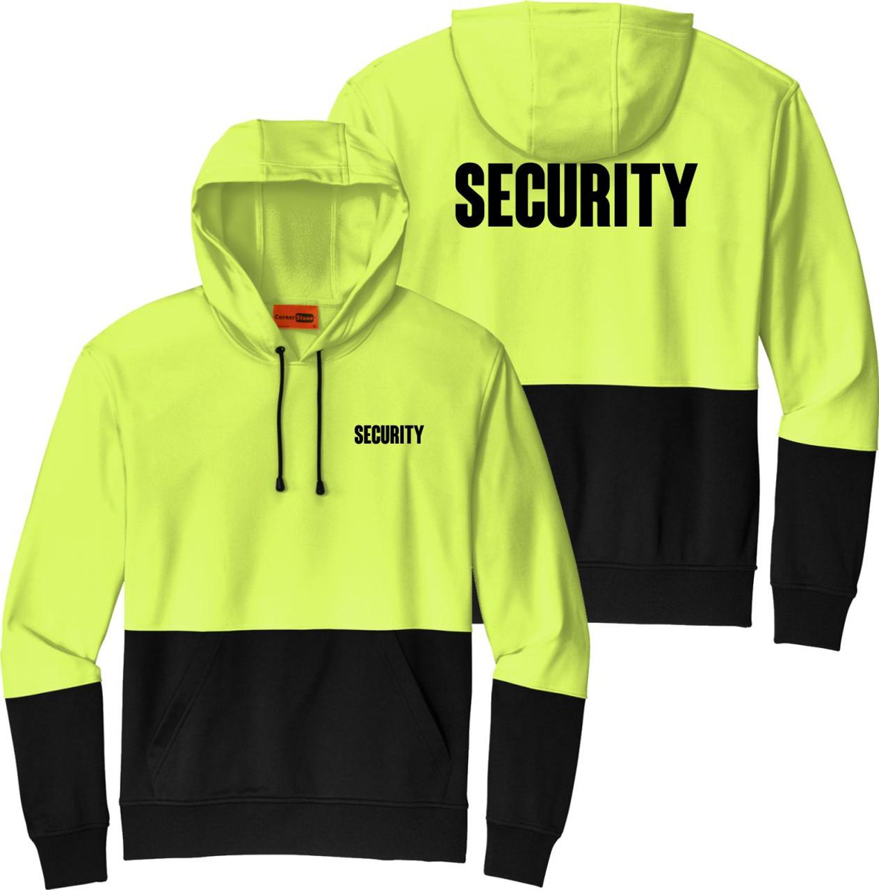 Hi Vis Security Hoodie   Security Hoodie Safety Green and Black