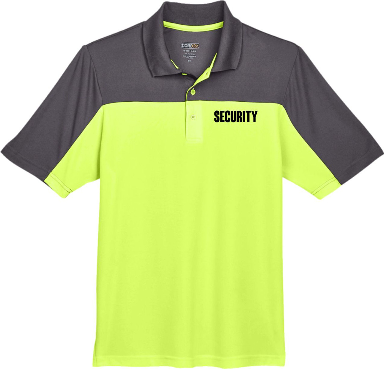 Safety Green and Carbon Grey Security Polo