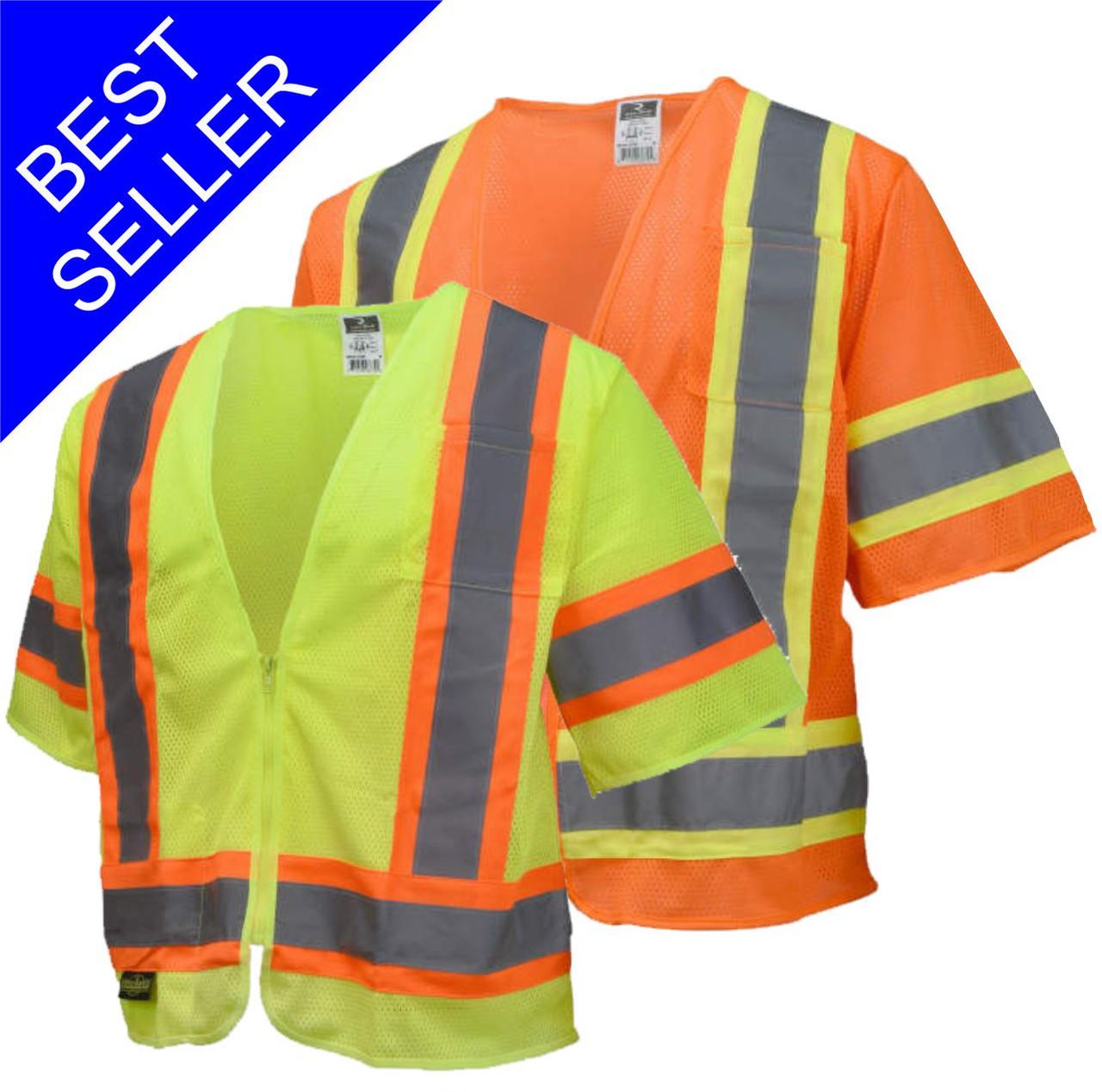 SV22-3 Safety Vest Class 3 Two Tone Safety Green - Safety Orange