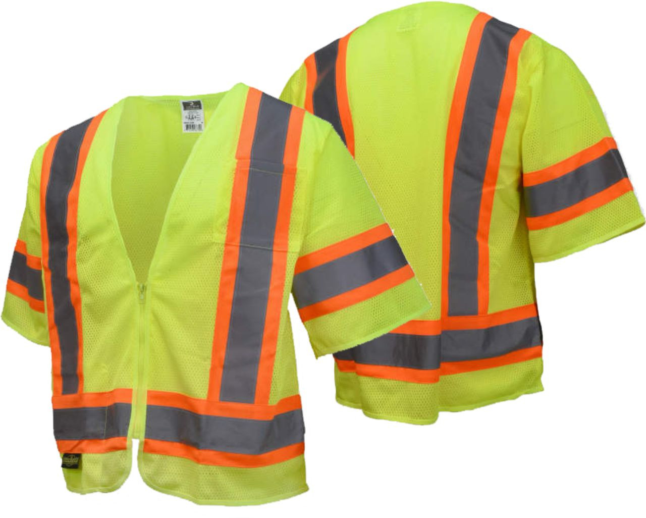 Radians SV22-3 Economy Type R Class 3 Safety Vest with Two-Tone Trim Safety Green Vest with Safety Orange Trim