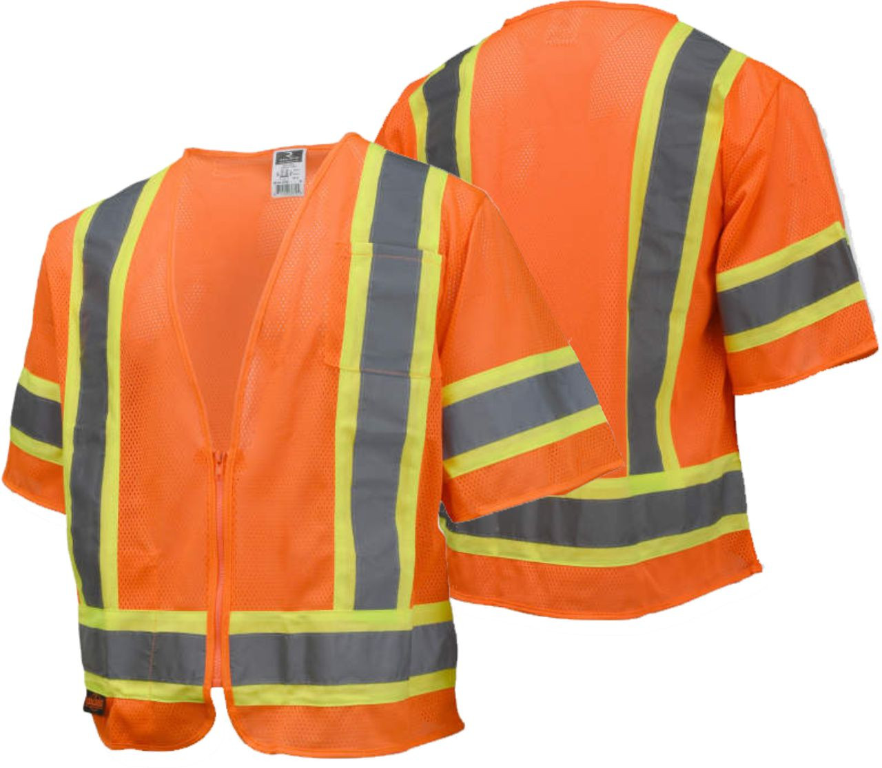 Radians SV22-3 Economy Type R Class 3 Safety Vest with Two-Tone Trim Safety Orange Vest with Safety Safety Green Trim