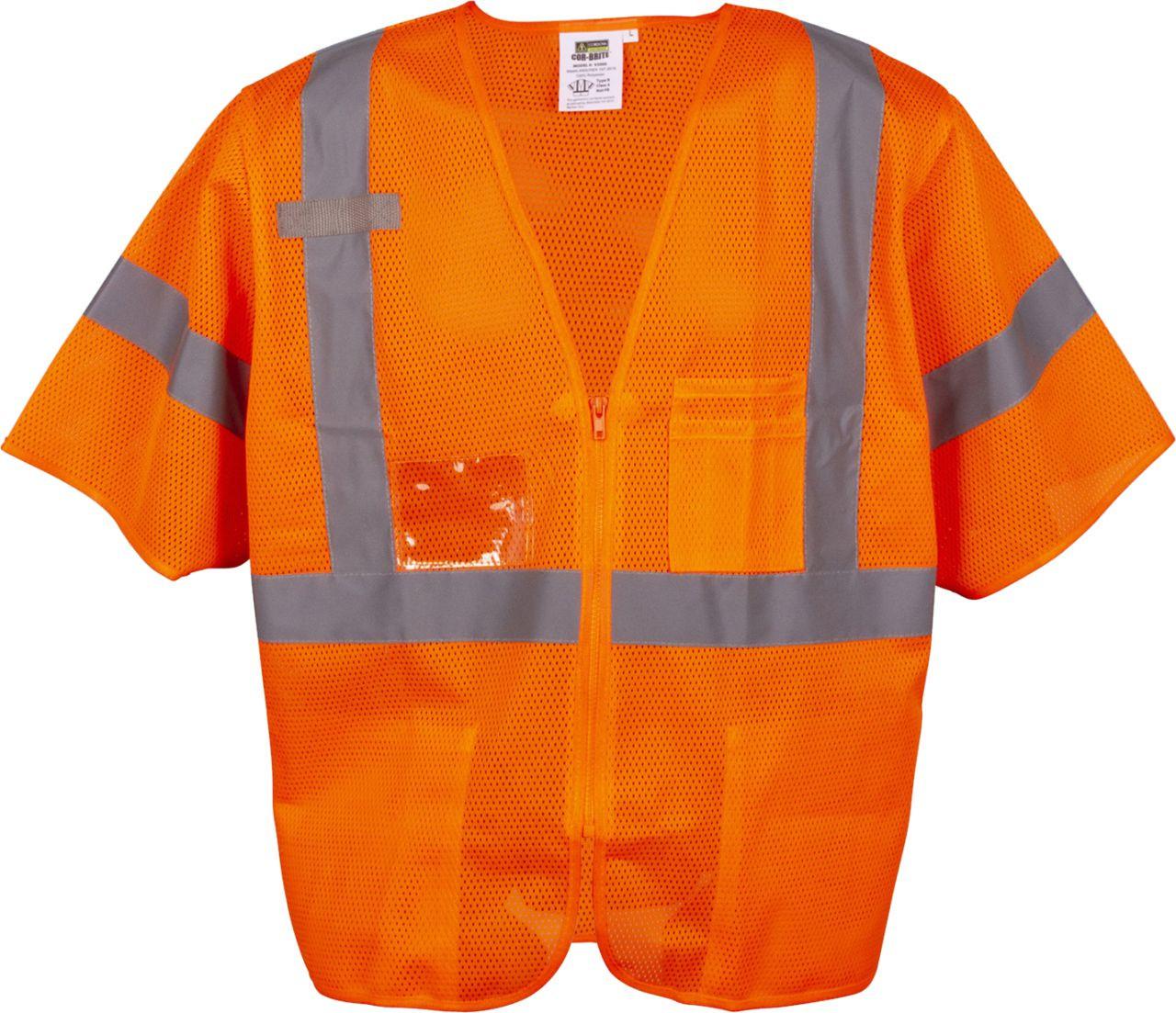 Safety Orange Safety Vest with Zipper Closure 3 Pockets