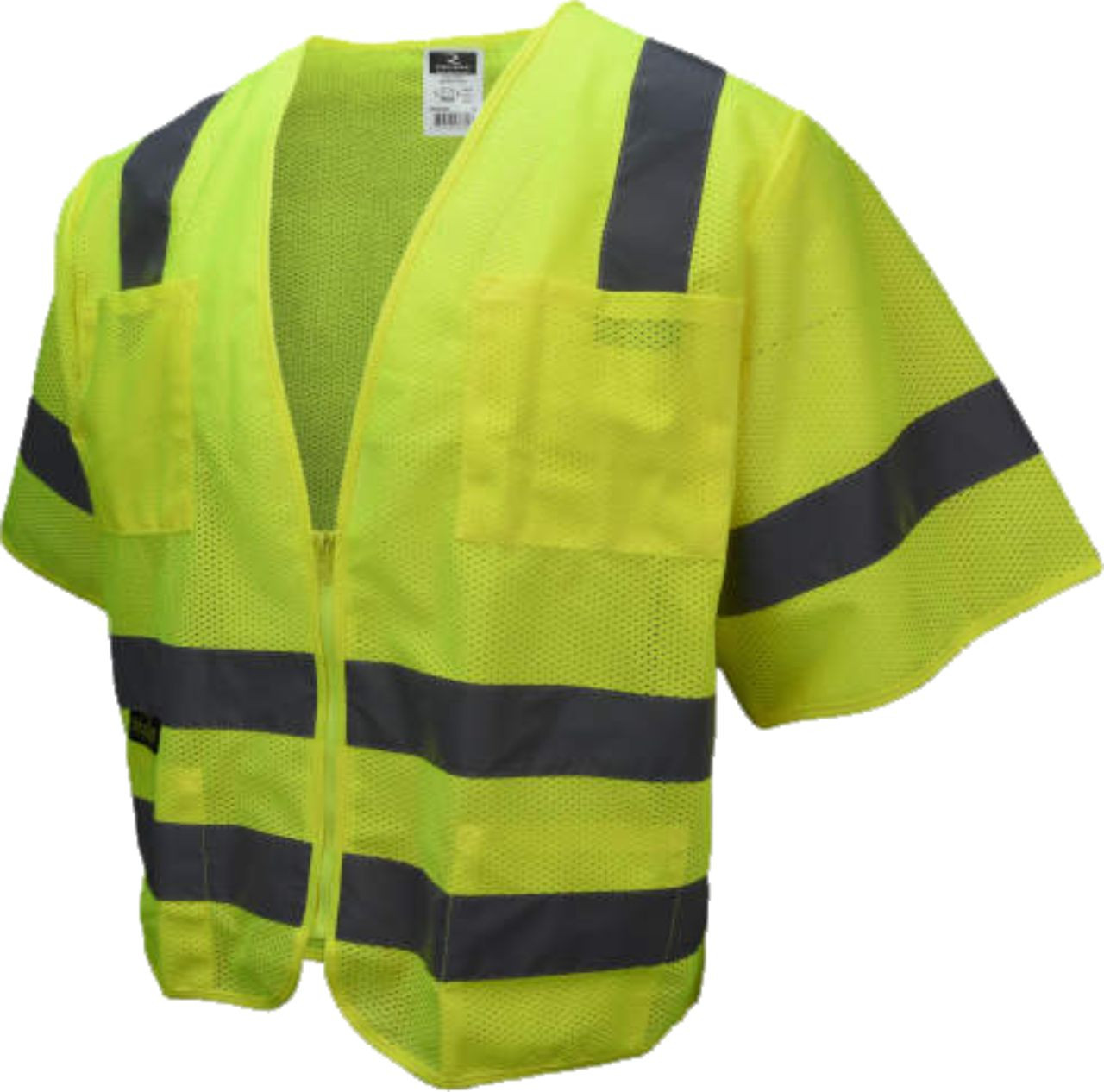 Standard Class 3 Safety Vest with Zipper Closure and 6 Pockets