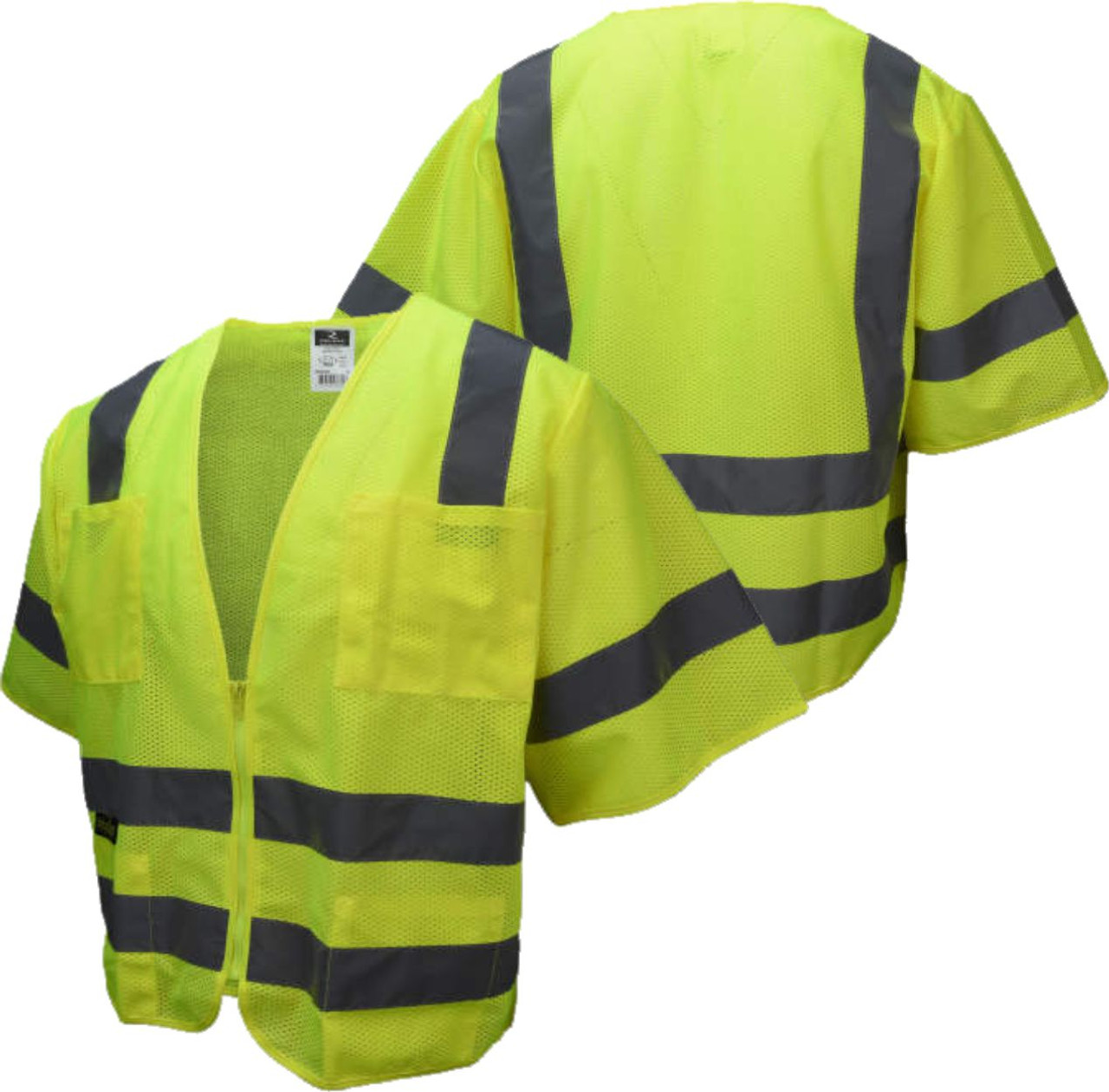 Standard ANSI Safety Green Class 3 Safety Vest with Zipper Closure and 6 Pockets