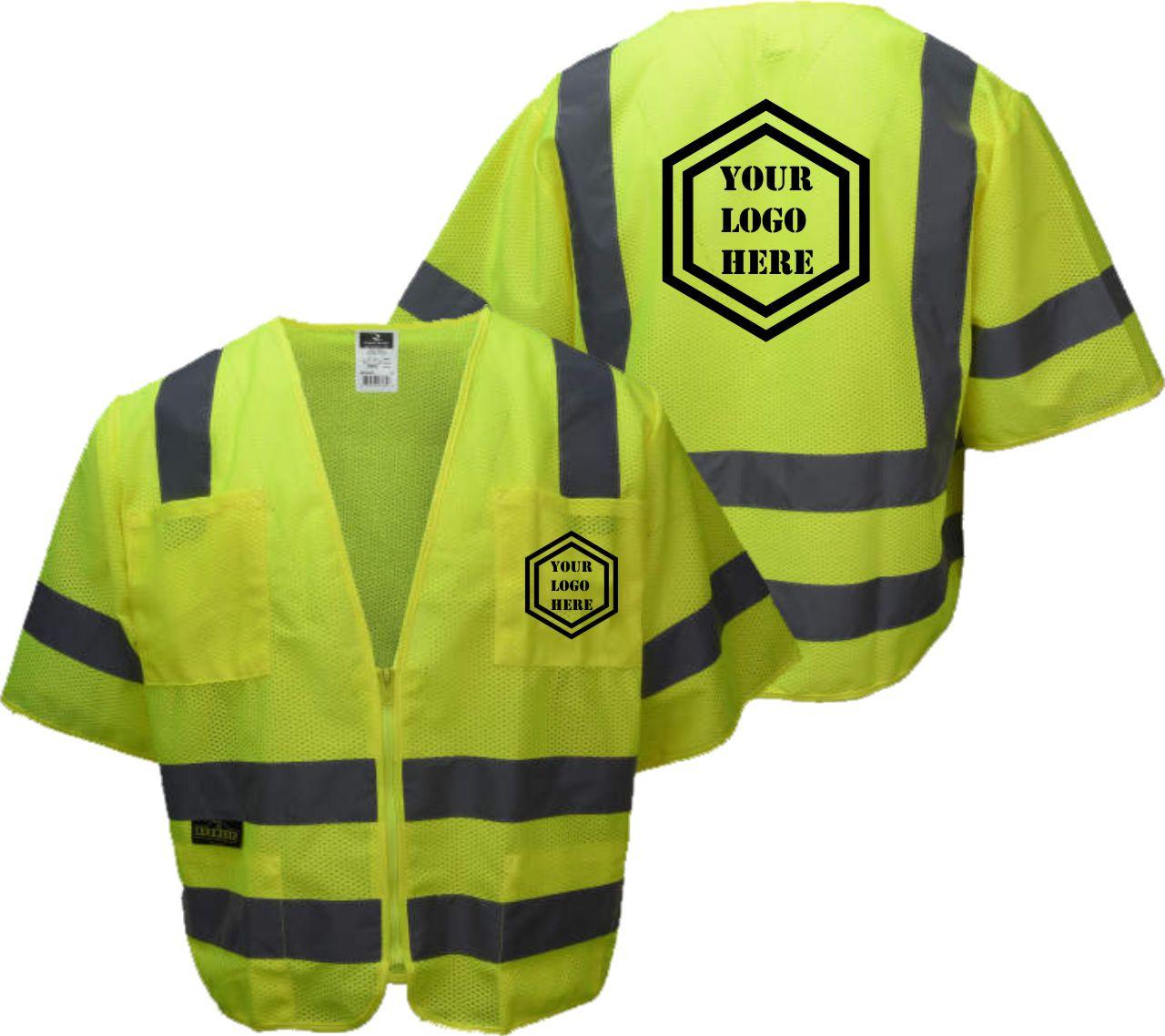 Custom Safety Green Vest Class 3 | Class 3 Printed Safety Vest | Logoed Safety Vest