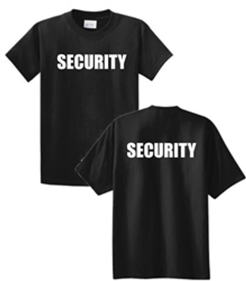 Security - Black Short Sleeve Full Front & Back