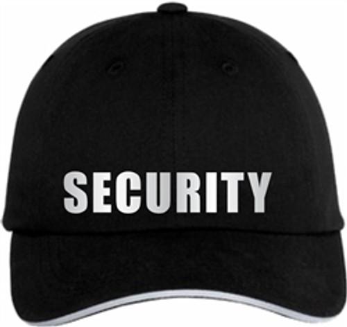 Black reflective Security Cap  |  Security Guard Reflective Sandwich Bill Cap | Security Guard Hat | Security Uniform Hat