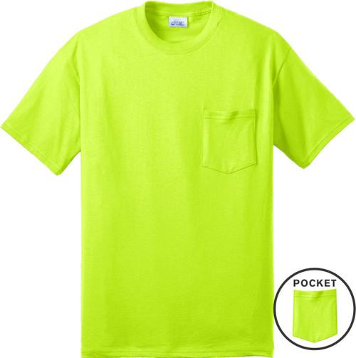 Safety Green Short Sleeve Pocket T Shirt Front