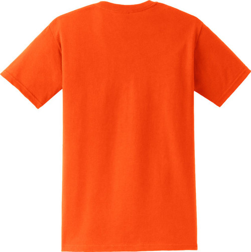 Safety Orange Short Sleeve Pocket T Shirt Back