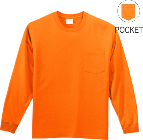 Safety Orange Long Sleeve T Shirt With Pocket 50 50 Cotton Poly Preshrunk Custom Printing Available Safety Imprints