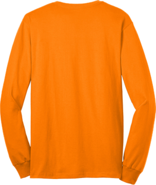Safety Orange Pocket Long Sleeve T Shirt Back